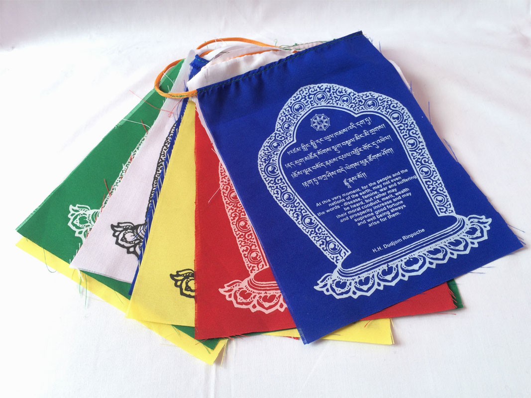A Good Wish Cotton Prayer Flags - Printed in English and Tibetan Word  (KLPF03)